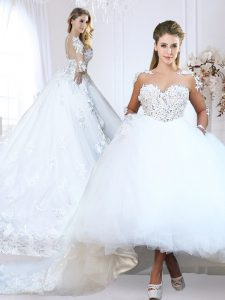 Long Sleeves Chapel Train Lace and Appliques Zipper Wedding Dress