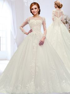 Spectacular Scoop Beading and Appliques Wedding Dresses White Zipper Long Sleeves With Train Court Train