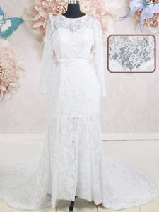 White Empire Scoop Long Sleeves Lace With Brush Train Zipper Beading and Belt Wedding Gown