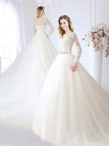 Graceful White Lace Up Bridal Gown Beading and Lace Long Sleeves With Train Chapel Train