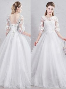 Elegant Tulle Scoop Half Sleeves Lace Up Lace and Appliques Wedding Gowns in White
