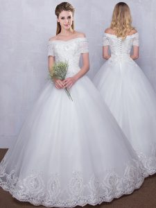 Spectacular Off the Shoulder White Ball Gowns Lace Wedding Gown Lace Up Tulle Short Sleeves Floor Length