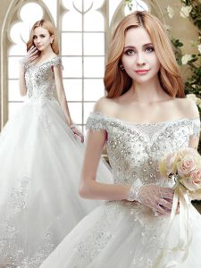 Off the Shoulder White Sleeveless Court Train Beading and Lace With Train Bridal Gown