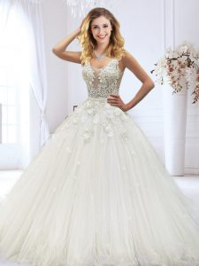 Scoop White Zipper Wedding Dresses Beading and Lace and Appliques Sleeveless Floor Length