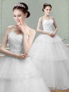 Dynamic Sweetheart Sleeveless Tulle Wedding Dress Beading and Ruching Lace Up