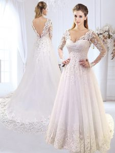 Elegant White A-line V-neck Long Sleeves Tulle With Brush Train Backless Lace and Appliques Wedding Dress