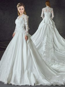 Long Sleeves Satin With Train Chapel Train Zipper Wedding Gowns in White with Lace and Appliques