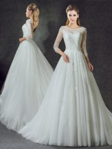 Deluxe White A-line Tulle Scoop 3 4 Length Sleeve Lace Lace Up Bridal Gown Court Train
