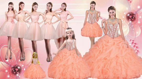 High Class Orange Organza Lace Up Sweet 16 Dresses Sleeveless Floor Length Beading and Ruffles