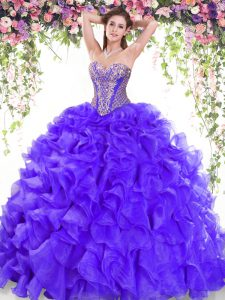 Purple Lace Up 15 Quinceanera Dress Beading and Ruffles Sleeveless Sweep Train
