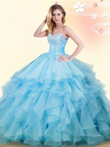 Comfortable Organza Sleeveless Floor Length Sweet 16 Quinceanera Dress and Beading and Ruffles