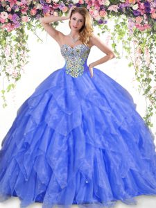 Dramatic Blue Sweetheart Neckline Beading and Ruffles 15 Quinceanera Dress Sleeveless Lace Up