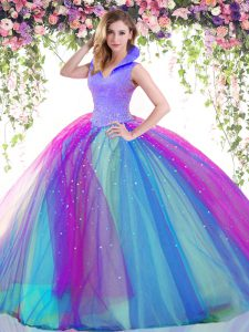 Floor Length Multi-color Quinceanera Gowns High-neck Sleeveless Backless