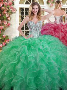 Sweetheart Sleeveless 15 Quinceanera Dress Floor Length Beading and Ruffles Green Organza