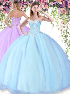 Light Blue Quinceanera Dresses Military Ball and Sweet 16 and Quinceanera and For with Beading Sweetheart Sleeveless Lac