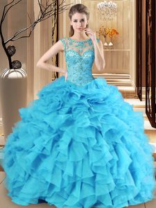 Scoop Sleeveless Floor Length Beading and Ruffles Lace Up Quince Ball Gowns with Baby Blue