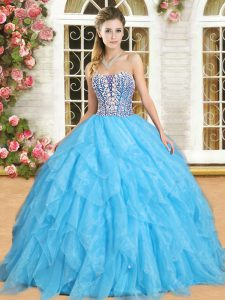 Dazzling Aqua Blue Sweetheart Lace Up Beading and Ruffles Sweet 16 Dresses Sleeveless