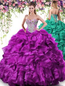 Hot Sale Purple Sleeveless Floor Length Beading and Ruffles Lace Up Quinceanera Dress