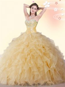Sweetheart Sleeveless Lace Up Vestidos de Quinceanera Gold Organza