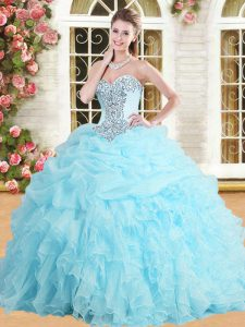 Baby Blue Sweetheart Lace Up Appliques and Ruffles and Pick Ups Ball Gown Prom Dress Sleeveless