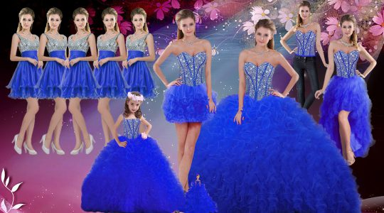 Royal Blue Lace Up Quinceanera Gowns Beading and Ruffles Sleeveless Floor Length