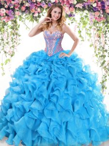 Baby Blue Ball Gowns Sweetheart Sleeveless Organza Sweep Train Lace Up Beading and Ruffles 15th Birthday Dress