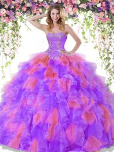Floor Length Lace Up Ball Gown Prom Dress Multi-color for Military Ball and Sweet 16 and Quinceanera with Beading