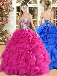 Hot Pink Ball Gowns Organza Strapless Sleeveless Lace and Ruffles Floor Length Lace Up Quinceanera Gown