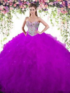 Glamorous Eggplant Purple Sleeveless Floor Length Beading Lace Up Sweet 16 Dresses