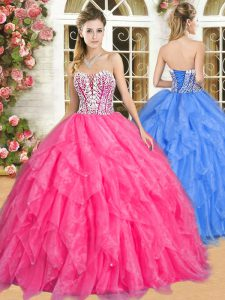 Nice Hot Pink Sweetheart Neckline Beading and Ruffles Quinceanera Gowns Sleeveless Lace Up