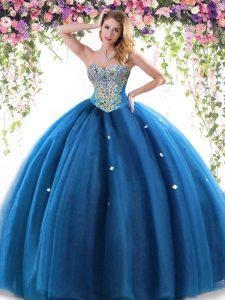 Blue Sleeveless Beading Floor Length 15th Birthday Dress