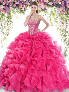 Hot Pink Sleeveless Sweep Train Beading and Ruffles Quinceanera Dresses