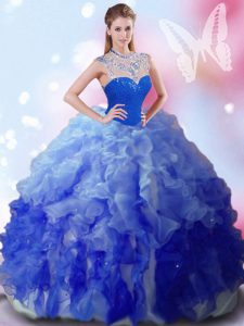 High-neck Sleeveless Vestidos de Quinceanera Floor Length Beading and Ruffles Multi-color Tulle