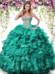 Shining Sleeveless Organza Floor Length Lace Up Quinceanera Dresses in Turquoise with Beading and Ruffles