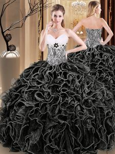 Sweetheart Sleeveless Lace Up Quinceanera Gown Black Organza