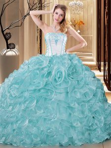 Glittering Sleeveless Organza Floor Length Lace Up Quinceanera Gowns in Blue And White with Embroidery and Ruffles