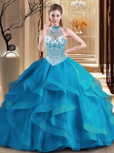Shining Blue Tulle Lace Up Halter Top Sleeveless With Train 15th Birthday Dress Brush Train Beading and Ruffles