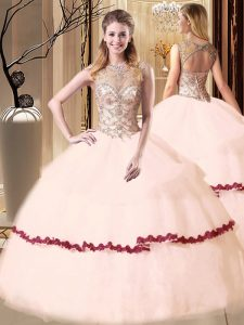 New Style Scoop Peach Sleeveless Tulle Lace Up 15 Quinceanera Dress for Military Ball and Sweet 16 and Quinceanera