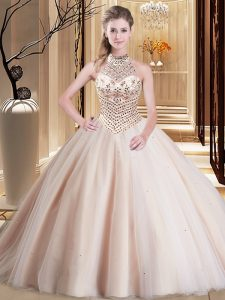 Halter Top Sleeveless Brush Train Lace Up With Train Beading Ball Gown Prom Dress