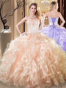 Sleeveless Floor Length Embroidery and Ruffles Lace Up Sweet 16 Dress with Yellow