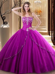 Sweetheart Sleeveless Tulle Quinceanera Gown Embroidery Lace Up