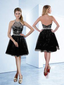 Most Popular Halter Top Beading Evening Gowns Black Zipper Sleeveless Knee Length