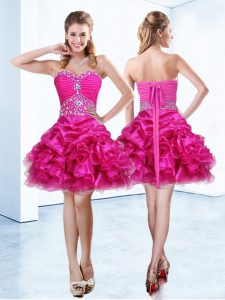 Hot Pink Celebrity Dresses Prom and Party and For with Beading and Ruffles and Pick Ups Sweetheart Sleeveless Lace Up