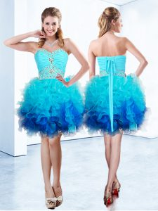 Custom Designed Blue Sleeveless Organza Lace Up Dress for Prom for Prom and Party