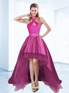 Colorful Ball Gowns Pageant Dress for Teens Fuchsia Halter Top Satin Sleeveless High Low Zipper