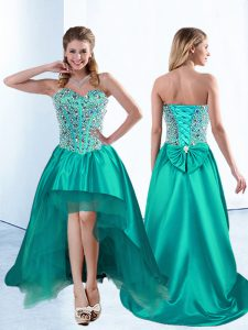 Sleeveless Lace Up High Low Beading and Bowknot Prom Evening Gown