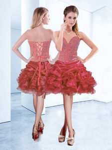 On Sale Organza Sweetheart Sleeveless Lace Up Beading and Ruffles and Pick Ups Prom Evening Gown in Coral Red