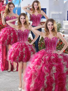 Suitable Four Piece Hot Pink Sleeveless Beading Floor Length 15 Quinceanera Dress