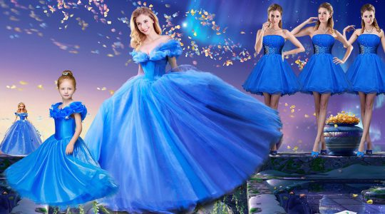 Sexy Off the Shoulder Royal Blue Ball Gowns Appliques and Bowknot Vestidos de Quinceanera Lace Up Tulle Short Sleeves Fl