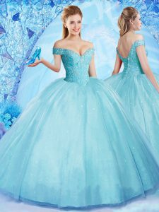 Pretty Aqua Blue Off The Shoulder Neckline Beading 15th Birthday Dress Sleeveless Lace Up